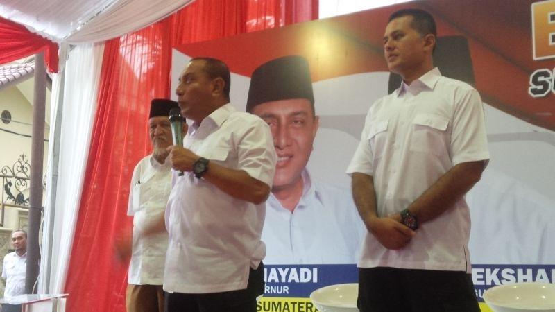 Edy Rahmayadi dalam pidato politiknya (Foto: Okezone)