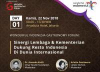 Libatkan 100 Restoran Diaspora, Kemenpar Gelar Wonderful Indonesia Gastronomy Forum 2018