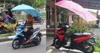 Viral Sepeda Motor Beratap Payung, Netizen: Bahaya Bagi Pengendara Lain