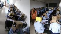 Cegah Menyontek, Mahasiswa di India Kerjakan Ujian Mengenakan Kardus di Kepala