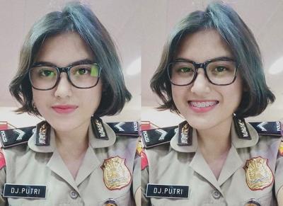Intip OOTD Stylish Polwan Cantik DJ Putri Bikin Hati Kepincut