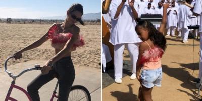 Berpose di Sepeda, Kendall Jenner Pinjam Baju North West?