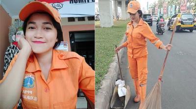 5 Potret Selha Purba, Pasukan Oranye Cantik yang Ditabrak Motor saat Menyapu Jalanan