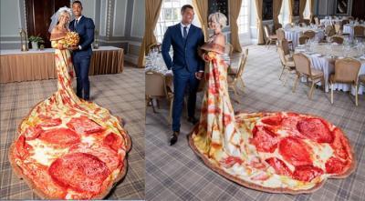 Uniknya Gaun Pengantin Pizza Bikin Pesta Pernikahan Jadi Anti-Mainstream!