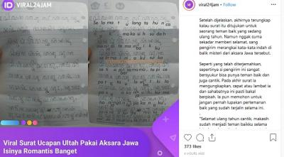 Unik, Zaman Now Masih Ada yang Kirim Surat ke Cewek Cantik Pakai Aksara Jawa