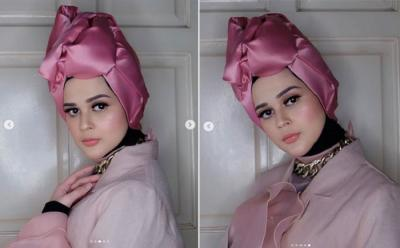 Gaya Hijab Turban Cut Meyriska, Cantik bak Bunga Mekar