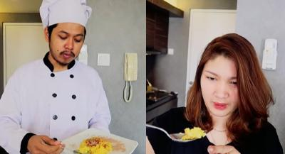 Demi Istri, Youtuber Ini Masak Nasi Kuning Pakai Minuman Berenergi