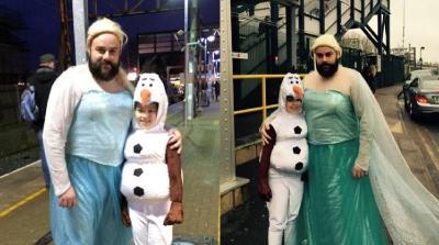 Aksi Seorang Ayah Rela Jadi Elsa Demi Buah Hati, Lihat Reaksi sang Anak