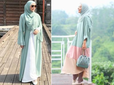 4 Inspirasi Outfit Hijab Berwarna Hijau Mint ala Selebriti, Fresh dan Ceria!