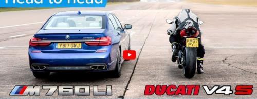 BMW Seri 7 Vs Motor Ducati Panigale V4, Lihat Kejutan di Awal